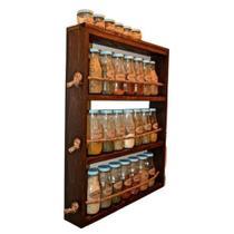 Porta Temperos de Parede Em Madeira Pinus Com 3 Prateleiras Para Condimentos Rústico - Palleter