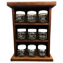 Porta Temperos e Condimentos com Prateleira Em Madeira Rústica 9 Potes de Vidro - Retrofenna Decor