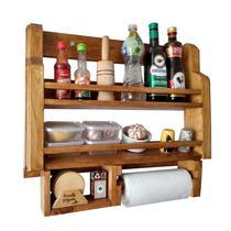 Porta Temperos e Condimentos de Parede Art Madeira Rústico com Suporte Papel Toalha - Arte em madeira