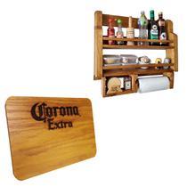 Porta Temperos e Condimentos de Parede Art Madeira Rústico + Tábua Corona Extra 24,5 x 17,5 cm - Arte Em Madeira