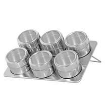 Porta Temperos E Condimentos Em Aço Inox Com Imã 6 Potes (REF: BS120-XC 259) - Zein