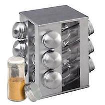 Porta Temperos E Condimentos Em Aço Inox Giratório 12 Potes - Box7