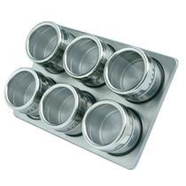 Porta Temperos E Condimentos Em Aço Inox Magnético 6 Potes REF: XC259 - Art House