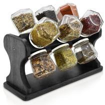 Porta Temperos e Condimentos Giratório Com 12 Frascos de Vidro Spinner Black - Palleter -