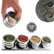 Porta Temperos e Condimentos Inox Imã Magnético Geladeira - Intep