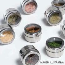 Porta Temperos E Condimentos Magnético Inox 3 Potes Com Imã - Clink