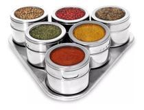 Porta Temperos E Condimentos Magnético Inox 6 Potes Com Imã - Clink