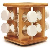 Porta Temperos Em Bambu Com 9 Peças Tyft -