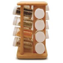 Porta temperos giratório em bambu tyft 17 peças -