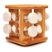 Porta temperos giratório em bambu tyft 9 peças -