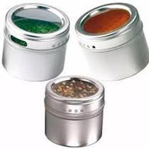 Porta Temperos Magnético Com 3 Potes Inox e Suporte -