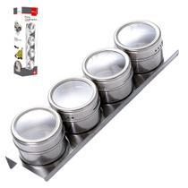 Porta Temperos Magnético Imã Inox com 4 Peças - Wellmix