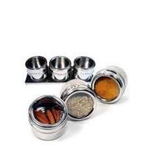 Porta Temperos Magnético Imã Suporte com 3 Potes - Inox