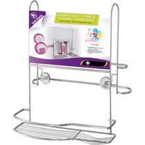 Porta Toalhas Duplo E Suporte Shampoo Para Box Com Ventosas - Zanline
