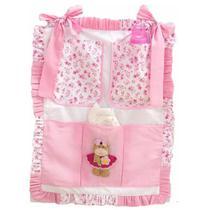 Porta Treco Bebê Menina Ursa Bailarina Rosa 3 Bolsos - I9 Baby