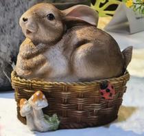 Porta treco coelho no cesto de ovos em resina - Infinit