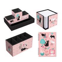 Porta Treco + Porta Lembretes + Organizador + Planner Gatos - Fina Ideia