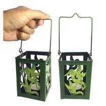Porta Vela Decorativo Marroquina Enfeite Jardim Ferro Beija Flor Verde Pequena Kit Com 2 (jard-75) - Braslu