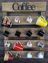 Porta Xícara Madeira Rústica Cozinha Bar Cantinho do Café - Marrom Rústico 16 Xícaras - Shoppingnet
