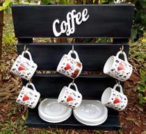 Porta Xícaras com porta pires na cor preta em Madeira Rústica para Cozinha, Bar ou Cantinho do Café - Shoppingnet