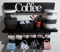 Porta Xícaras com prateleira 14 cm em Madeira Rústica na cor Preto Rústico Cozinha, Bar ou Cantinho do Café - Shoppingnet