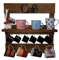 Porta Xícaras com prateleira em Madeira Rústica na cor Marrom Rústico Cozinha, Bar ou Cantinho do Café - Shoppingnet