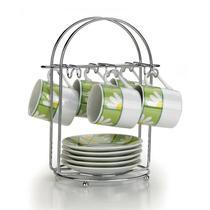 Porta Xícaras de Chá Arthi Aço Cromado para 6 peças -