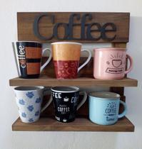 Porta Xícaras e Canecas em Madeira Rústica Cozinha, Bar ou  Cantinho do Café - Marrom Rústico para 6 peças - Shoppingnet