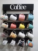 Porta Xícaras e Canecas em Madeira Rústica Cozinha, Bar ou  Cantinho do Café - Preto Rústico para 16 peças - Shoppingnet