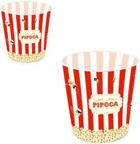 Pote Balde de Pipoca de Plastico Decorado Popcorn 2,8l - Wellmix -