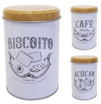 Pote de lata redondo branco para mantimentos decorado com tampa tipo madeira/bambu 800ml - Fwb