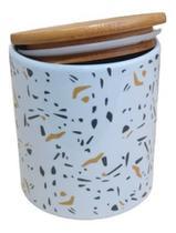 Pote De Porcelana P/ Mantimentos Hermético C/ Tampa Bambu - Interponte