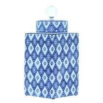 Pote de Porcelana Quadrado Com Tampa Azul Oldway 31X14x14CM -