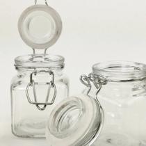 Pote de vidro c/ trava hermética p/ conservar alimentos - 90 ml - Pote Para Mantimentos