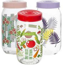 Pote de vidro redondo decorado com tampa de plastico colors 1l - Casita/Imporiente