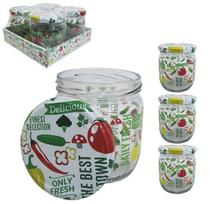 Pote de vidro redondo decorado legumes com tampa de metal kit com 4 pecas 425ml - Satyam