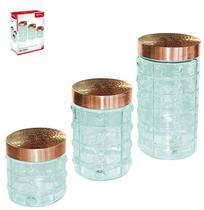 Pote de vidro redondo quadriculado transparente para mantimentos com tampa cobre / rose kit com 3 pecas - Wellmix