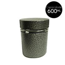 Pote de Vidro Revestido Inox 600Ml Cinza - Shopud