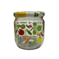 Pote Decorado com Vegetais Redondo com Tampa de Vidro 425ml- Casa ambiente - Edfort
