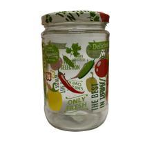 Pote Decorado com Vegetais Redondo com Tampa de Vidro 660ml- Casa ambiente - Edfort