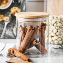 Pote hermético de vidro com tampa de bambu (550 ml - unidade) - Casa & Novidade