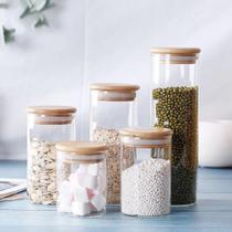 Pote hermético de vidro com tampa de bambu (750 ml - unidade) - Casa & Novidade