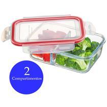 Pote hermético de vidro retangular 800ml com 2 compartimentos mantimentos freezer marmita Sanremo -