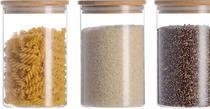 Pote hermetico tampa de bambu 1.000ml kit 3 un 1 litro - Yoi
