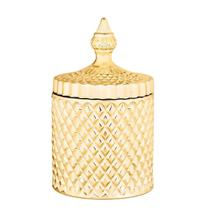 Pote Potiche Decorativo 18cm Vidro Dourado - Mart