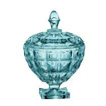 Potiche Aquamarine com pe em cristal  D17,5xA25cm cor azul turquesa - L Hermitage