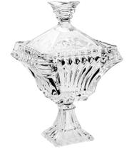 Potiche Bomboniere Em Cristal Ecológico Medieval Com Pé Transparente 15x15x29cm - Wolff