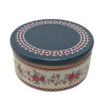 Potiche ceramica c/ tampa romantic flowers cinza/vermelho 16,5 x 16,5 x 8 cm - Urban