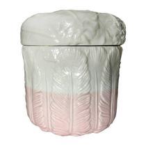 Potiche de Cerâmica Rosa e Branco Feathers Urban -