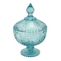 Potiche Versailles com pe em cristal D15,5xA24cm cor azul Turquesa - L Hermitage